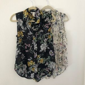 Lot of 2 H&M sheer floral blouses